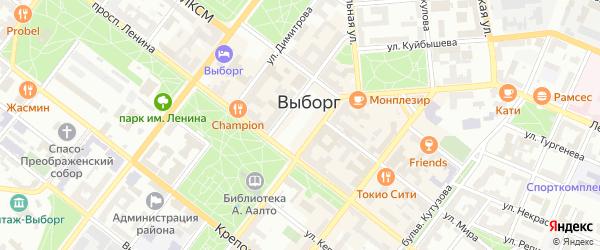 Хрустальная улица на карте Выборга с номерами домов