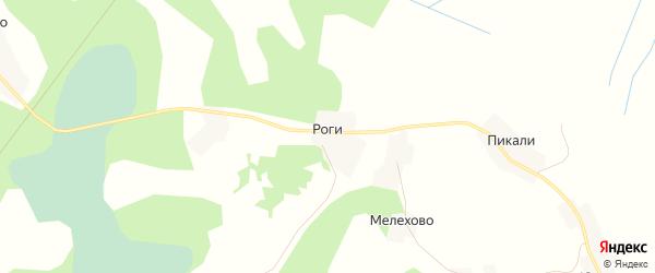 Карта деревни Рог в Псковской области с улицами и номерами домов