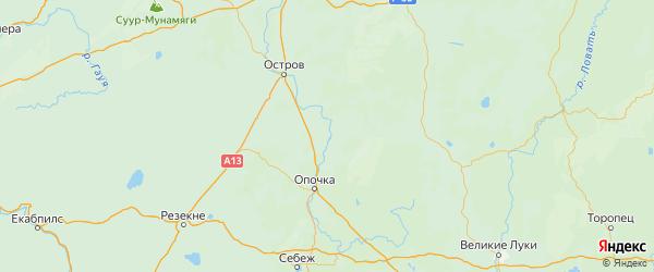 Карта Пушкиногорского района Псковской области с городами и населенными пунктами