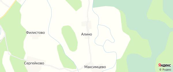 Карта деревни Алино в Псковской области с улицами и номерами домов