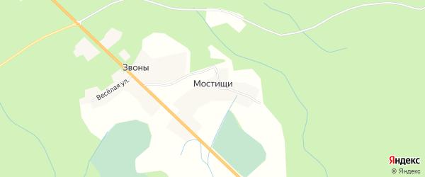 Карта деревни Мостищи в Псковской области с улицами и номерами домов