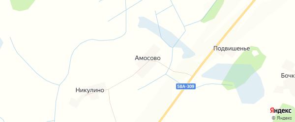 Карта деревни Амосово в Псковской области с улицами и номерами домов