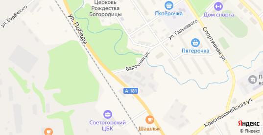 Барочная улица в Светогорске с номерами домов на карте. Спутник и схема онлайн