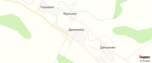 Карта деревни Деменино в Псковской области с улицами и номерами домов