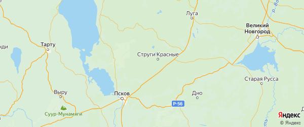 Карта Струго-красненского района Псковской области с городами и населенными пунктами
