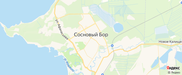 Карта Соснового Бора с районами, улицами и номерами домов