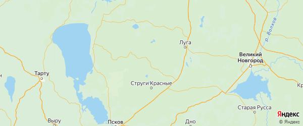 Карта Плюсского района Псковской области с городами и населенными пунктами