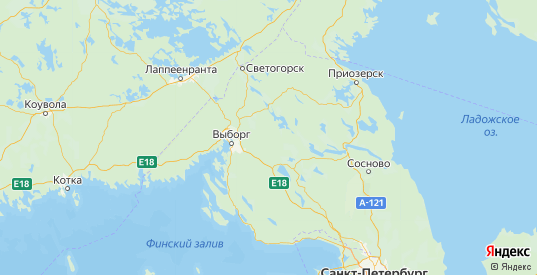 Карта Выборгского района Ленинградской области с городами и населенными пунктами
