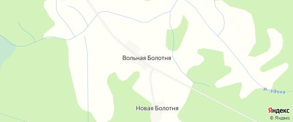 Карта деревни Вольной Болотни в Псковской области с улицами и номерами домов