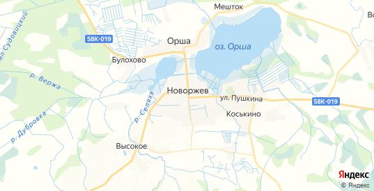 Карта Новоржева с улицами и домами подробная. Показать со спутника номера домов онлайн