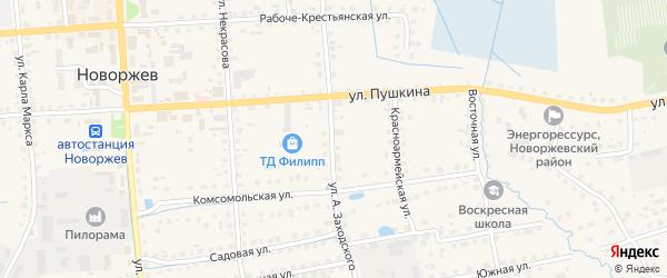 Улица А.Заходского на карте Новоржева с номерами домов