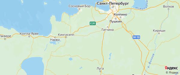 Карта Волосовского района Ленинградской области с городами и населенными пунктами