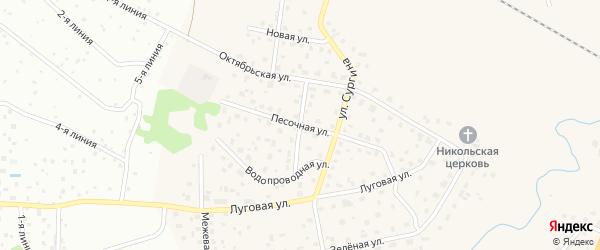 Песочная улица на карте поселка Большей Ижоры Ленинградской области с номерами домов