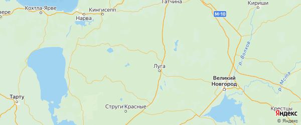 Карта Лужского района Ленинградской области с городами и населенными пунктами