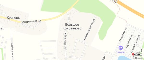 Счастливая улица на карте территории Большого Коновалово Ленинградской области с номерами домов