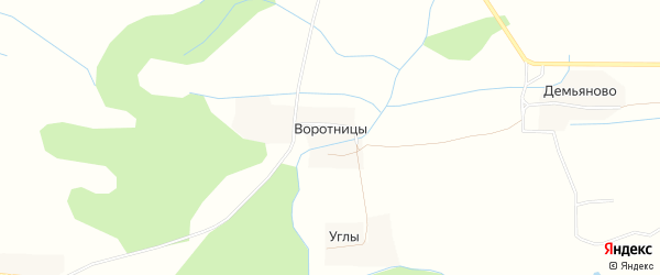 Карта деревни Воротницы в Псковской области с улицами и номерами домов