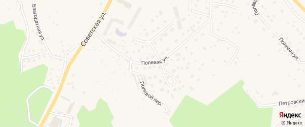 Полевая улица на карте поселка Первомайского Ленинградской области с номерами домов