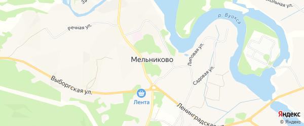 Карта садового некоммерческого товарищества Мельниково п Островок в Ленинградской области с улицами и номерами домов