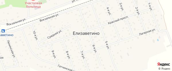 Улица Холоповицкое поле на карте поселка Елизаветино Ленинградской области с номерами домов