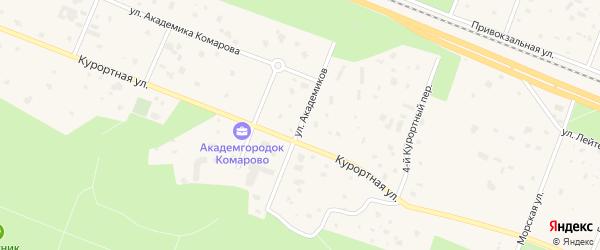 Улица Академиков на карте поселка Комарово с номерами домов