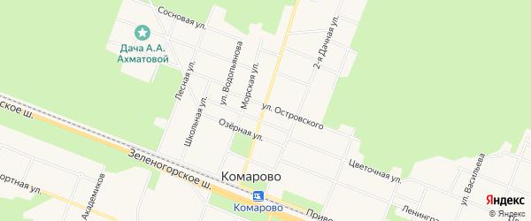 Карта поселка Комарово в Санкт-Петербурге с улицами и номерами домов