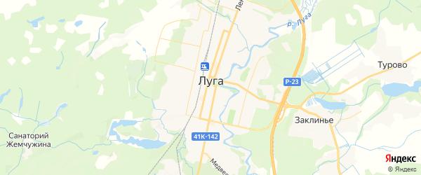 Карта Луги с районами, улицами и номерами домов