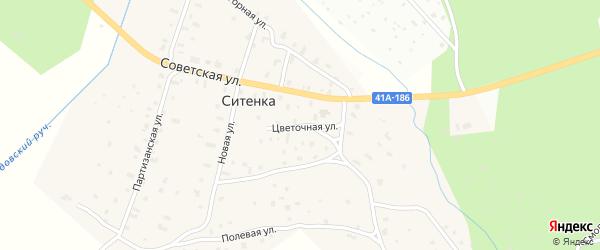 Цветочная улица на карте деревни Ситенка Ленинградской области с номерами домов