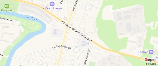 Комсомольский проспект на карте Луги с номерами домов