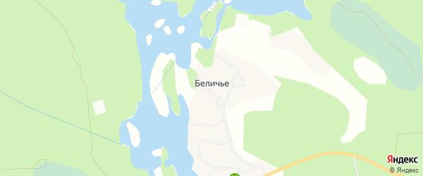 Карта поселка Беличьего в Ленинградской области с улицами и номерами домов
