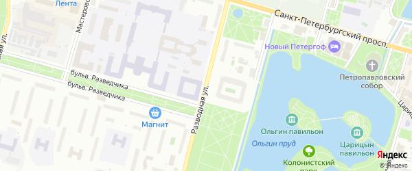 Разводная улица на карте Петергофа с номерами домов