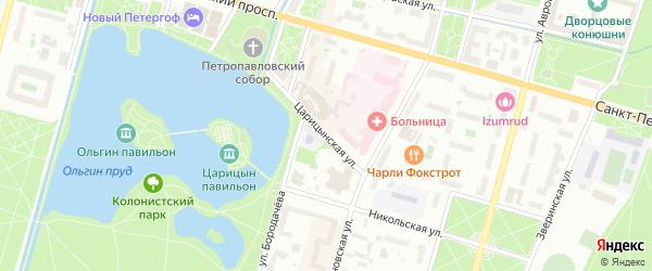Царицынская улица на карте Петергофа с номерами домов