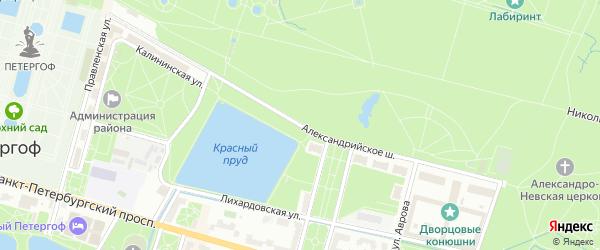 Александрийское шоссе на карте Петергофа с номерами домов