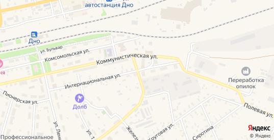 Коммунистическая улица в Дно с номерами домов на карте. Спутник и схема онлайн