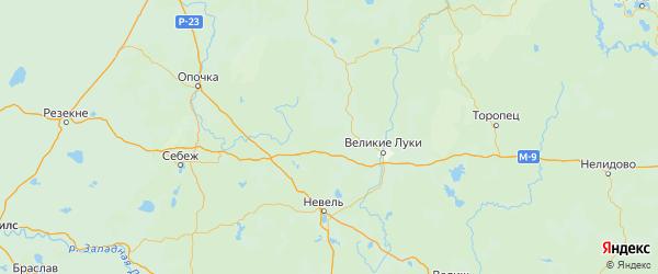 Карта Новосокольнического района Псковской области с городами и населенными пунктами