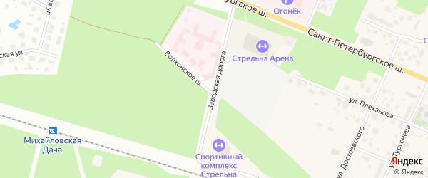 Заводская дорога на карте Петергофа с номерами домов