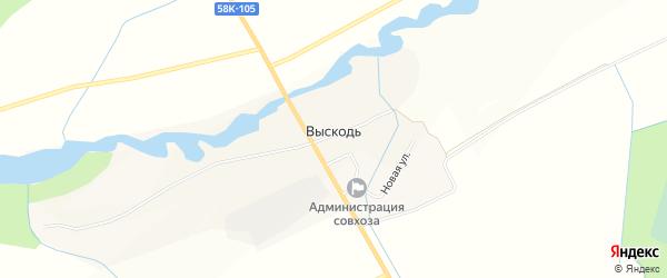 Карта деревни Выскоди в Псковской области с улицами и номерами домов