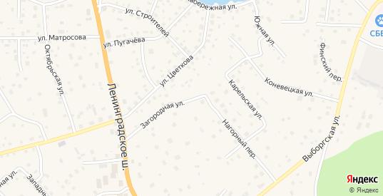 Загородная улица в Приозерске с номерами домов на карте. Спутник и схема онлайн