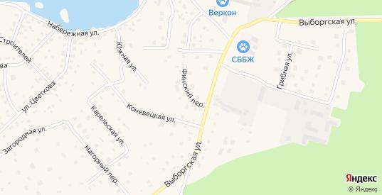 Финский переулок в Приозерске с номерами домов на карте. Спутник и схема онлайн