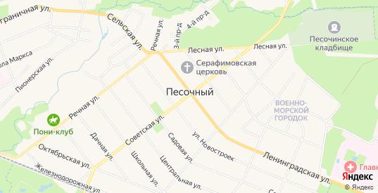 Карта поселка Песочный в Санкт-Петербурге с улицами, домами и почтовыми отделениями со спутника онлайн