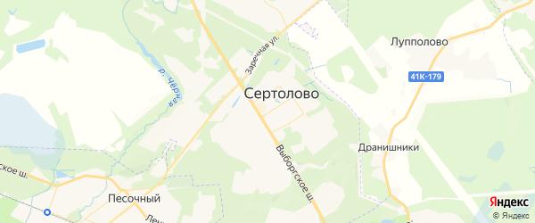 Карта Сертолово с районами, улицами и номерами домов