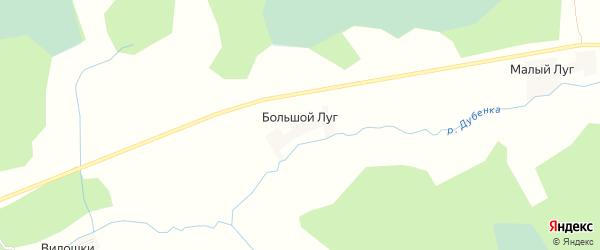 Карта деревни Большого Луга в Псковской области с улицами и номерами домов