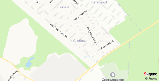 Карта садового некоммерческого товарищества Слобода днп в Сертолово с улицами, домами и почтовыми отделениями со спутника онлайн