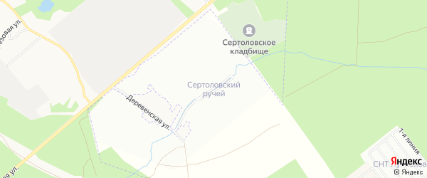 Территория СНТ Сертоловский ручей на карте Всеволожского района Ленинградской области с номерами домов