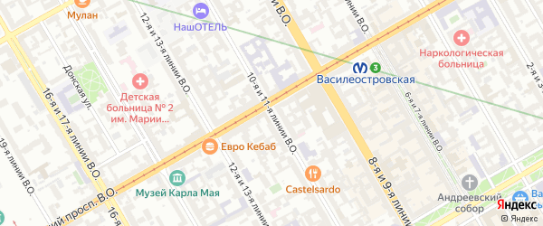 Линия 11-я В.О. на карте Санкт-Петербурга с номерами домов