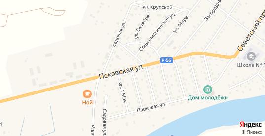 Псковская улица в Сольцах с номерами домов на карте. Спутник и схема онлайн