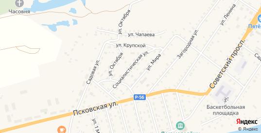Социалистическая улица в Сольцах с номерами домов на карте. Спутник и схема онлайн