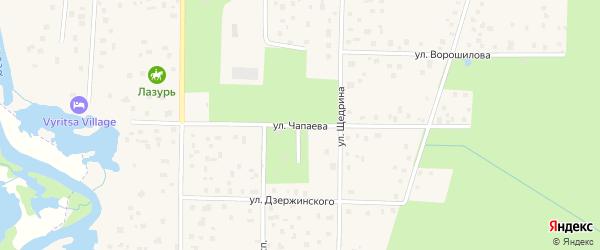 Улица Чапаева на карте поселка Вырицы Ленинградской области с номерами домов