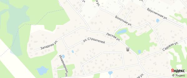 Улица Строителей на карте деревни Мендсар Ленинградской области с номерами домов