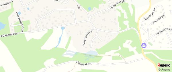 Цветочная улица на карте деревни Мендсар Ленинградской области с номерами домов