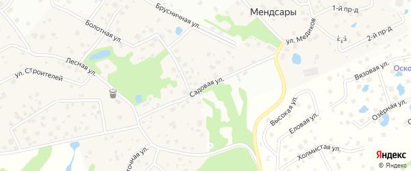 Садовая улица на карте деревни Мендсар Ленинградской области с номерами домов